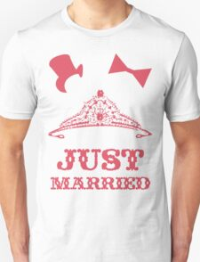 Just Married Princess Bride Top Hat Groom Unisex T-Shirt