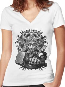 Thor Looking Dude with Hammer Women's Fitted V-Neck T-Shirt
