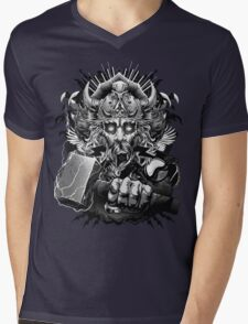 Thor Looking Dude with Hammer Mens V-Neck T-Shirt