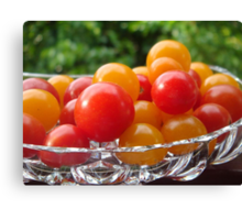 Sweet 100's tomatoes in Lead Crystal Dish Canvas Print