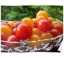Sweet 100's tomatoes in Lead Crystal Dish Poster