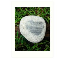 Granite Heart Rock in Wet Green Grass Art Print