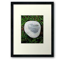 Granite Heart Rock in Wet Green Grass Framed Print