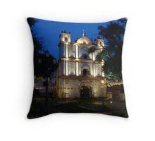 San Cristobal de las Casas- church at twilight Throw Pillow