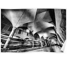 Urban CityScape, night arcades of Bologna Italy Poster