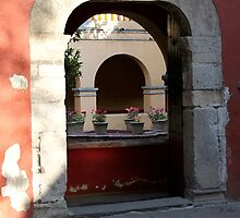 Convent doorway w geraniums by Shirley  Poll