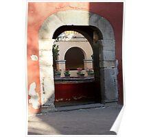 Convent doorway w geraniums Poster
