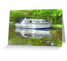 """""""Jemima & a Duck"""" - Boat on the Wey Navigation Canal Greeting Card"""