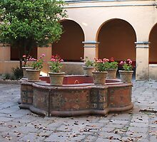 Convent fountain w geraniums by Shirley  Poll