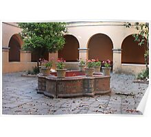 Convent fountain w geraniums Poster