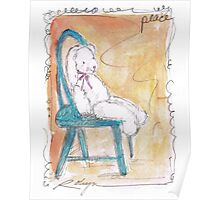 Bunny in Blue Chair Poster