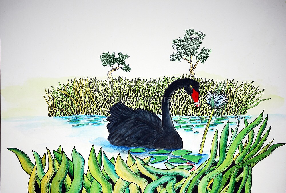 Black Swan and Lotus by robert murray