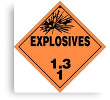 HAZMAT HAZARD EXPLOSIVES - STICKER Canvas Print