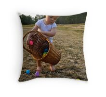 Adorable Easter bunny with basket Throw Pillow