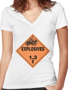 HAZMAT HAZARD EXPLOSIVES - STICKER Women's Fitted V-Neck T-Shirt