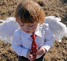 Cupid child with red tie by ashley hutchinson