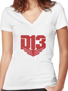 The Hunger Games - Rebels United (Red Version) Women's Fitted V-Neck T-Shirt