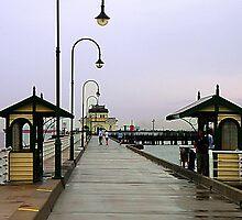 Rain on St Kilda Pier by Maureen Clark