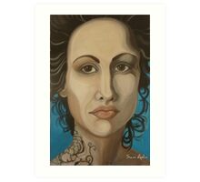 Woman with tattoo Art Print