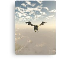 Green Dragon Flying over the Mountains Canvas Print