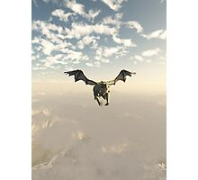 Green Dragon Flying over the Mountains Photographic Print
