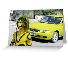 The yellow taxi by Meli Fernandes Greeting Card