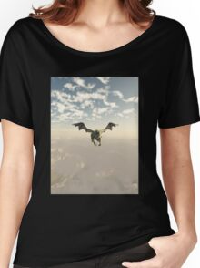 Green Dragon Flying over the Mountains Women's Relaxed Fit T-Shirt