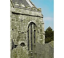 Gravestones and granite window Photographic Print