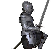 Fifteenth Century Medieval Knight in Kneeling Pose by algoldesigns