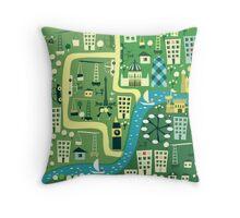 Cartoon Map of London Throw Pillow