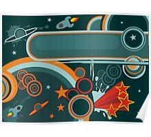 retro cosmos card Poster