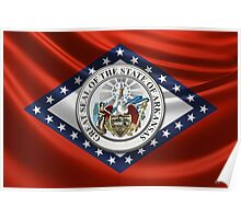 Arkansas Great Seal over State Flag Poster