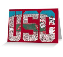 USC Coliseum Letters Greeting Card