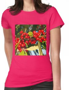 Bright red berries Womens Fitted T-Shirt