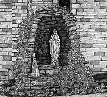202 - LOURDES GROTTO, ST WILFRID'S CHURCH, BLYTH - DAVE EDWARDS - INK - 1997 by BLYTHART