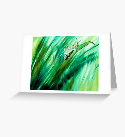 Cri Cri - oil painting of a cricket in the grass Greeting Card