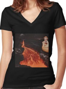 The Floor is Lava Women's Fitted V-Neck T-Shirt