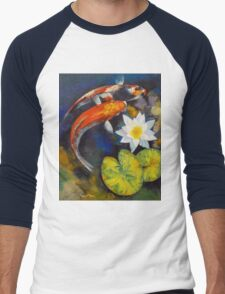 Koi Fish and Water Lily Men's Baseball ¾ T-Shirt