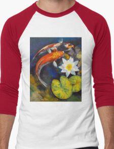 Koi Fish and Water Lily Men's Baseball ¾ T-Shirt