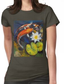 Koi Fish and Water Lily Womens Fitted T-Shirt