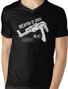 'Weapon of Choice - AK47' - White Logo Mens V-Neck T-Shirt