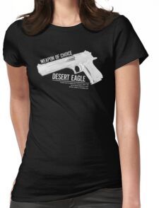 'Weapon of Choice - Desert Eagle' - White Logo Womens Fitted T-Shirt