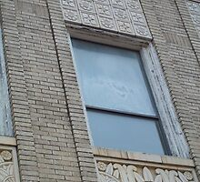 Blue Window in Yellow Brick Wall by Danielle Ducrest