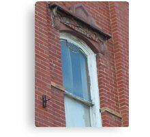 Blue Window in Red Brick Wall Canvas Print