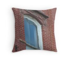 Blue Window in Red Brick Wall Throw Pillow