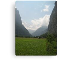 Grass Down Below, Snow up Above - Lauterbrunnen, CH Canvas Print