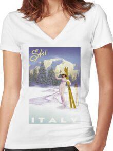 Vintage Italian Ski sport poster, ski italy Women's Fitted V-Neck T-Shirt