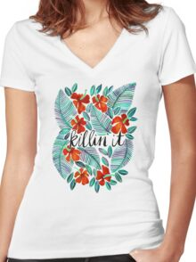 Killin' It – Tropical Red & Green Women's Fitted V-Neck T-Shirt