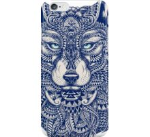 Blue Tones Detailed Wolf Head Illustration Art iPhone Case/Skin
