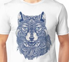 Blue Tones Detailed Wolf Head Illustration Art Unisex T-Shirt
